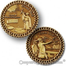 Cross Staff and Back Staff Geocoin - antique bronze
