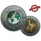 World Clock XXXL Geocoin Silver / Gold XLE 75