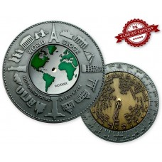 World Clock XXXL Geocoin Silver / Gold XLE 75